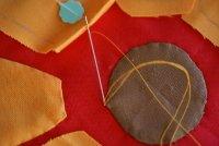 Start Stitching Applique Piece to Background