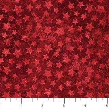 Bright Red Stars on Red Fabric Patriotic Collection by Northcott