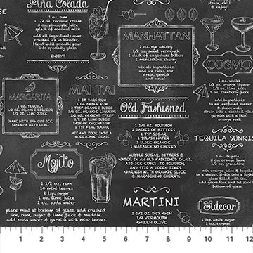 Cocktail Recipes Fabric Cheers Collection by Northcott