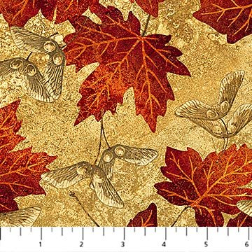 Maple Leaves & Seeds Fabric - Tan Maplewood Collection by Northcott