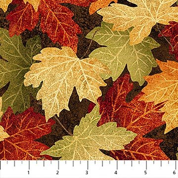 Fall Maple Leaves Fabric - Brown Maplewood Collection by Northcott