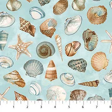Seashells Fat Quarter - Aqua Shore Thing Collection by Northcott