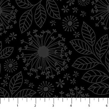 Nature Bloom Fabric - Black Simple Neutral Collection by Northcott