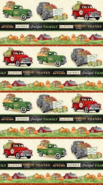 Farm Truck Border Fabric - Cream Farmers Market Collection by Northcott