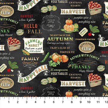 Produce Signs Fat Quarter - Black Farmers Market Collection by Northcott