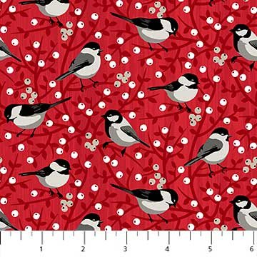Chickadees & Berries Fabric - Red Swedish Christmas Collection by Northcott
