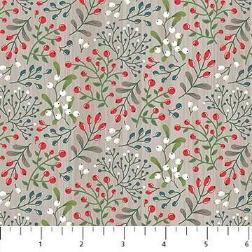 Flowers & Berries Fat Quarter - Dark Grey Swedish Christmas Collection by Northcott
