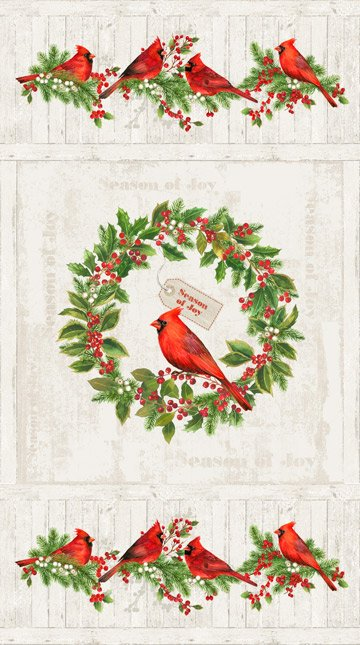 Cardinal in Wreath Fabric Panel Cardinals Woods Collection by Northcott