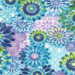 Amanda Floral - White Fabric Tribeca Collection by Timeless Treasures