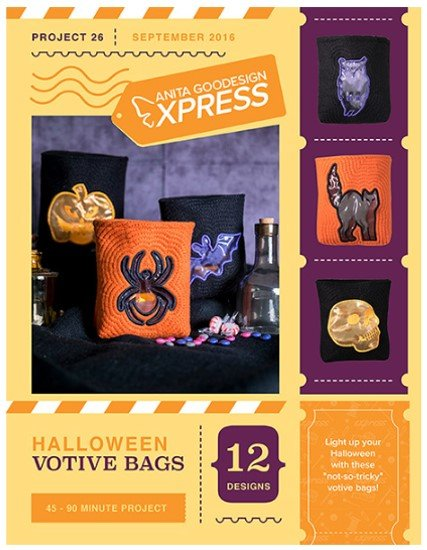 Halloween Votive Bags Embroidery Project by Anita Goodesign