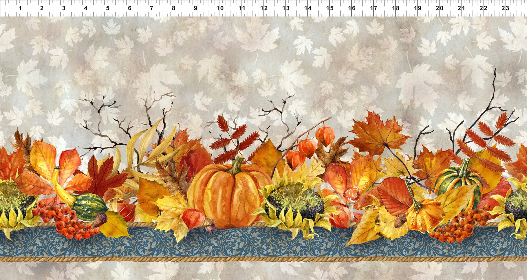 Harvest Fabric - Taupe Our Autumn Friends Collection by In the Beginning Fabrics