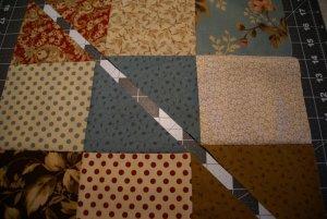 First Diagonal Cut through Nine Patch Block