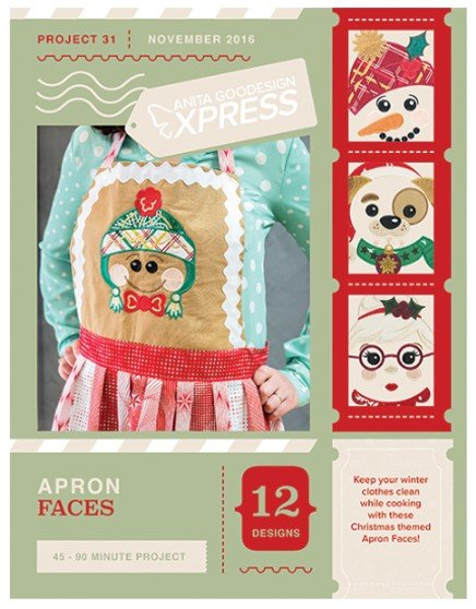 Apron Faces Embroidery Project by Anita Goodesign