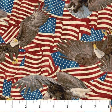 Eagles on Flags Fabric Patriotic Collection by Northcott