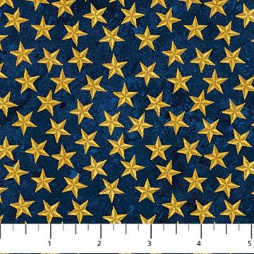 Gold Stars on Navy Fabric Patriotic Collection by Northcott