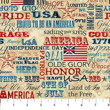 Freedom Words Fabric Stonehenge Old Glory Collection by Northcott