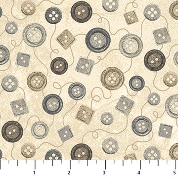 Buttons Fabric - Brown Tones on Tan A Stitch in Time Collection by Northcott