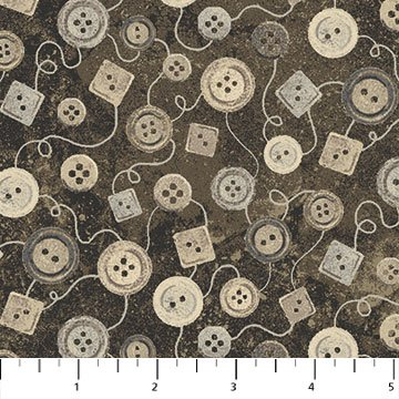 Buttons Fabric - Brown Tones on Brown A Stitch in Time Collection by Northcott
