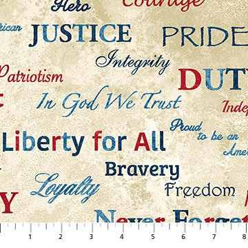 Stars & Stripes Words Fat Quarters  Patriotic Collection by Northcott