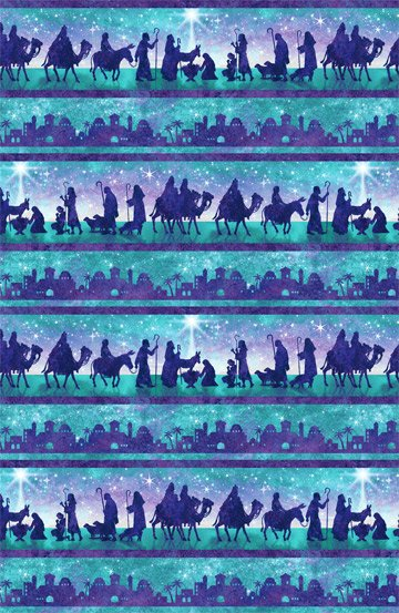 Nativity Border Fat Quarter - Teal Joy to the World Collection by Northcott
