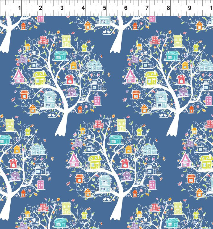 Tree Houses Fabric - Multi Doodle Blossoms Collection by In the Beginning Fabrics