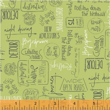 Direction Fat Quarter - Green from Road Trippin' Collection by Windham Fabrics