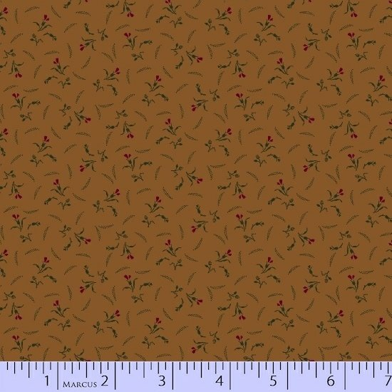 Brown Red Green Flower Floral Fabric Conestoga Crossing Collection by Marcus Fabrics
