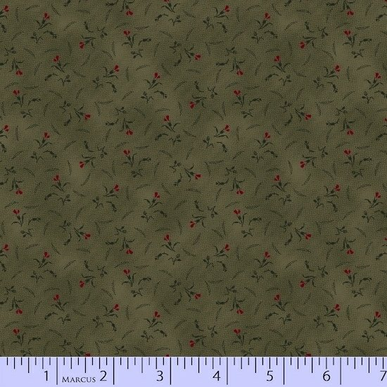 Sage Green Red Flower Floral Fabric Conestoga Crossing Collection by Marcus Fabrics