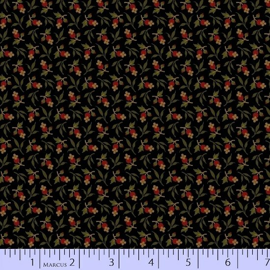 Black Red Green Flower Floral Fabric Conestoga Crossing Collection by Marcus Fabrics