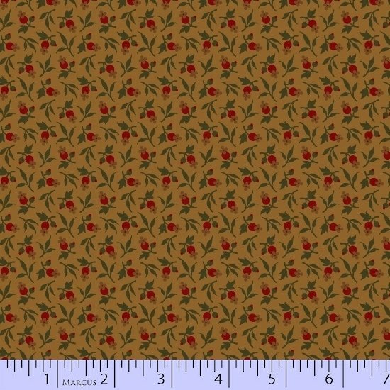 Tan Red Green Flower Floral Fabric Conestoga Crossing Collection by Marcus Fabrics