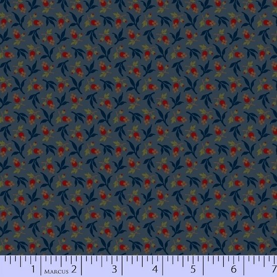 Blue Red Flower Floral Fabric Conestoga Crossing Collection by Marcus Fabrics