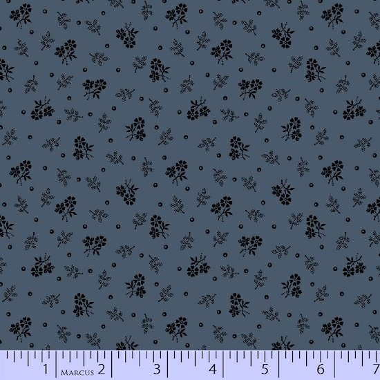 Blue Black Floral Vine Fabric Conestoga Crossing Collection by Marcus Fabrics