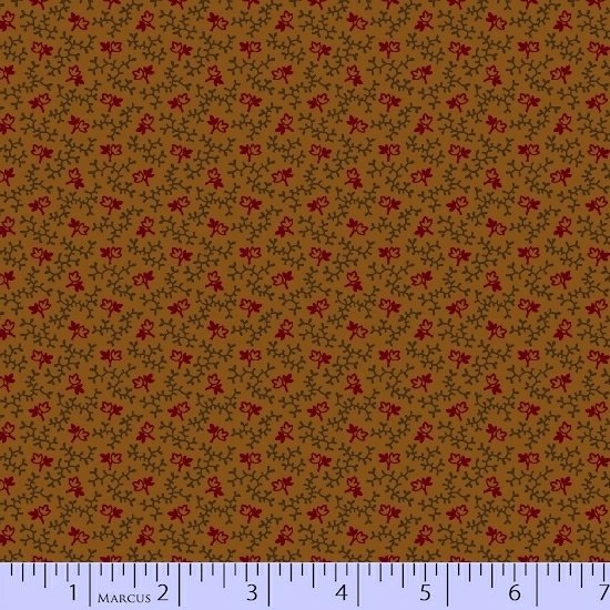 Red Green Brown Texture Flower Floral Vine Fabric Conestoga Crossing Collection by Marcus Fabrics
