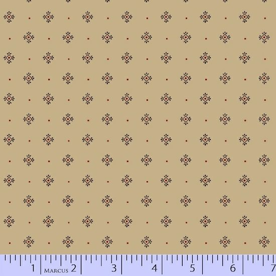 Cream Red Beige Ivory Foulard Geometric Fabric Conestoga Crossing Collection by Marcus Fabrics