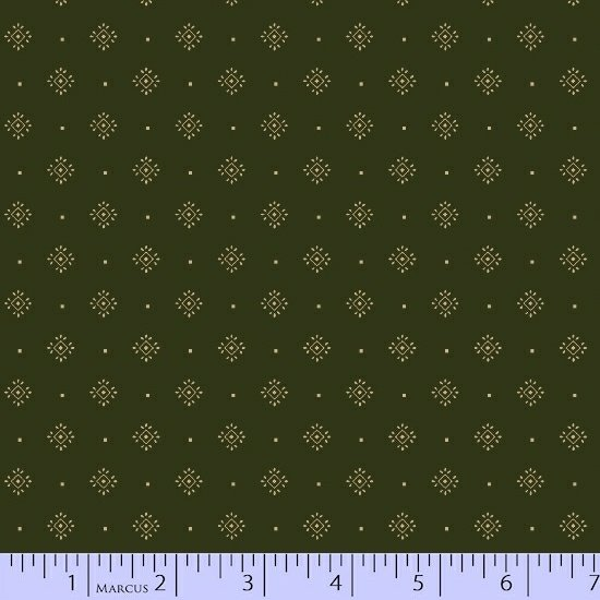 Olive Green Ivory Foulard Geometric Fabric Conestoga Crossing Collection by Marcus Fabrics