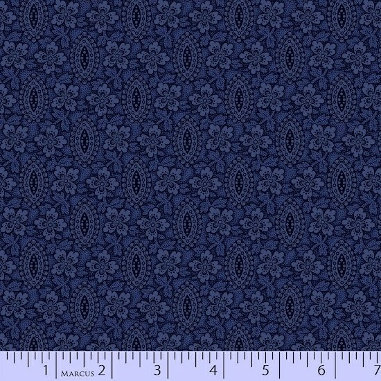 Blue Texture Medallion Flower Floral Fabric Conestoga Crossing Collection by Marcus Fabrics