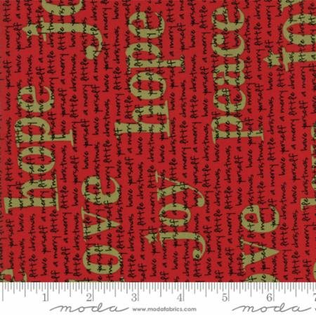 Holiday Words Fabric - Red Overnight Delivery Collection by Sweetwater for Moda Fabrics