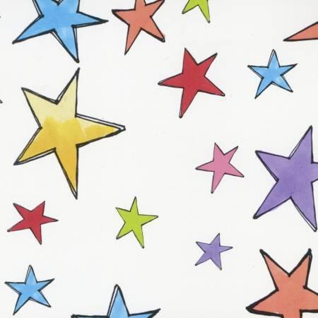 Multi Color Stars on White Fat Quarter by Loralie Designs