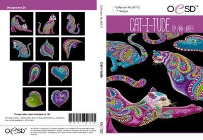 Cat-i-tude Embroidery CD  by Ann Lauer for OESD