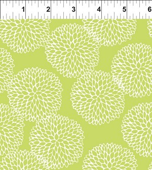 Chrysanthemums Fat Quarter - Lime Doodle Blossoms Collection by In the Beginning Fabrics