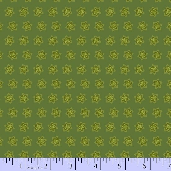 Olive Starflower Fabric Getting to Know Hue Collection by Marcus Fabrics