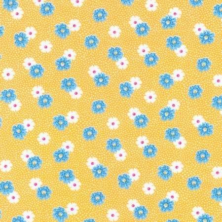 Flowers Fabric - Screamin' Yellow Windowsill Garden Collection by Darlene Zimmerman for Robert Kaufman Fabrics