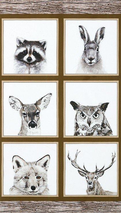 Forest Animals Fabric Panel - Earth Animal Kingdom Collection by Rafale Design Ltd. for Robert Kaufman Fabrics