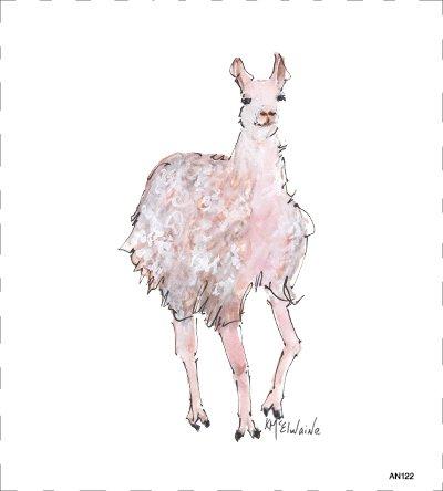 Llama Quilt Block Art by Kathleen McElwaine