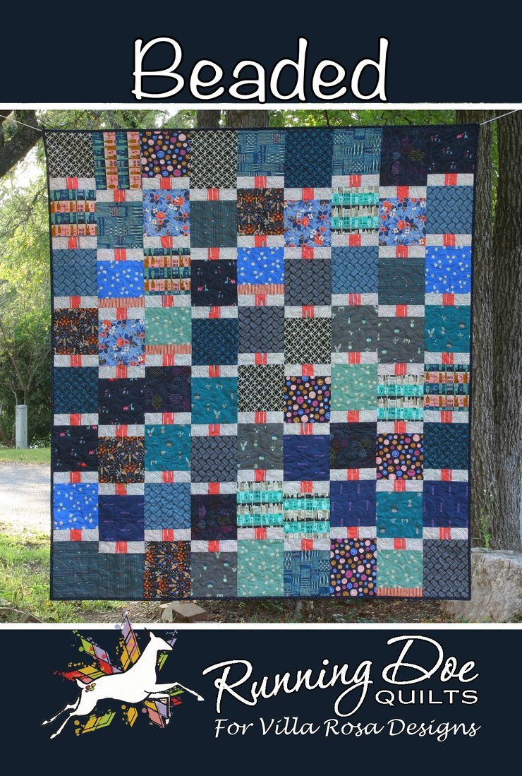 Beaded Card Quilt Pattern by Running Doe Quilts for Villa Rosa Designs