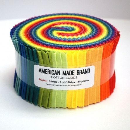 American Made Brand Bright Solids Fabric 2 1/2 Strip Roll by Clothworks