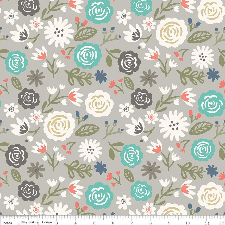 Blooms on Gray Fat Quarter Heart Collection by Riley Blake Designs
