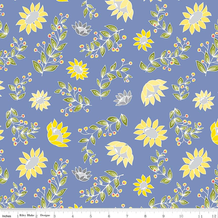 Sunflowers Fat Quarter - Blue Monday, Monday Collection by Riley Blake Designs