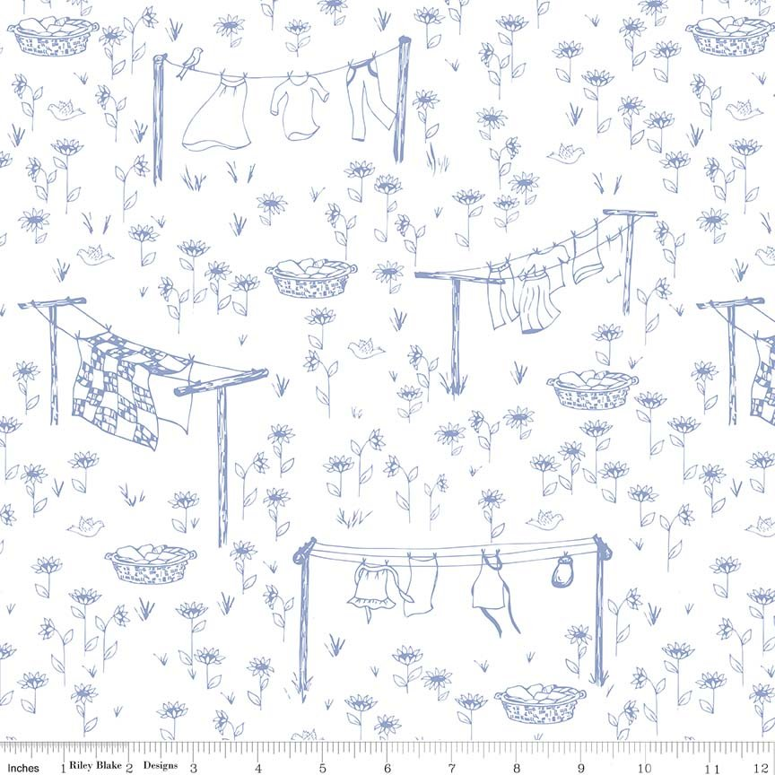 Laundry Fat Quarter - Blue Monday, Monday Collection by Riley Blake Designs