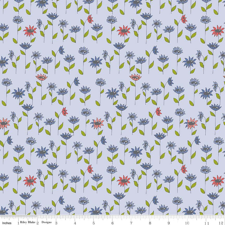 Blooms Fat Quarter - Blue Monday, Monday Collection by Riley Blake Designs